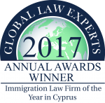 2017 GLE ANNUAL AWARDS WINNERS    Immigration Law Firm Of The Year In Cyprus