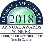 2018 GLE ANNUAL AWARDS WINNERS - Immigration Law Firm of the Year in Cyp...